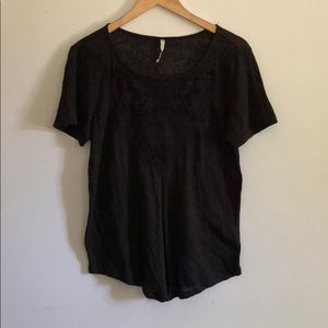 Black Nordstrom tee with modern lace detail